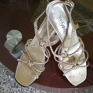 Vintage Authentic YSL Strappy braided heels